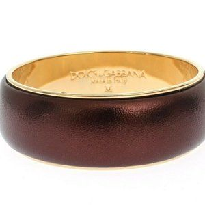 Dolce & Gabbana Purple Leather Brass Bracelet